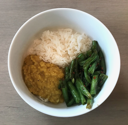 Madhur Jaffrey Muslim Dal and Green Beans Served