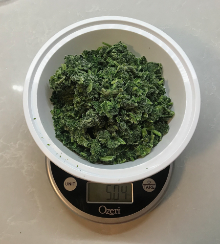 KAF Spinach Dip - Spinach Measured