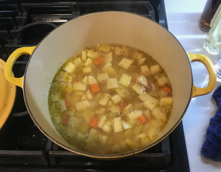 Root Vegetable Soup - Cooking