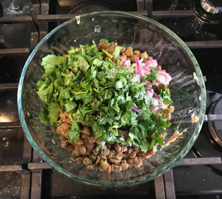 Lentil Salad - Herbs with Cooked Lentils