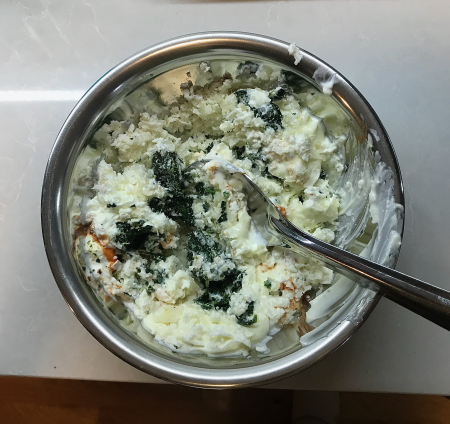 KAF Spinach Dip - Ingredients for Mixing